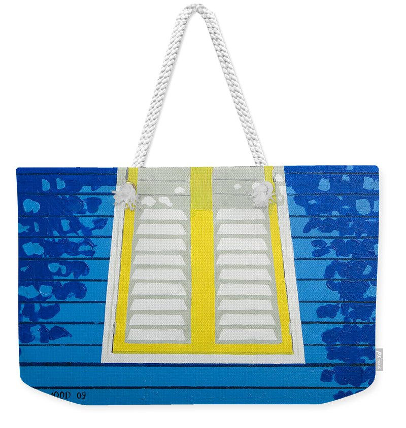 Caribbean House Architecture Sun Painting Blue Curacao Aruba Antilles Weekender Tote Bag featuring the painting Blue House by Trudie Canwood