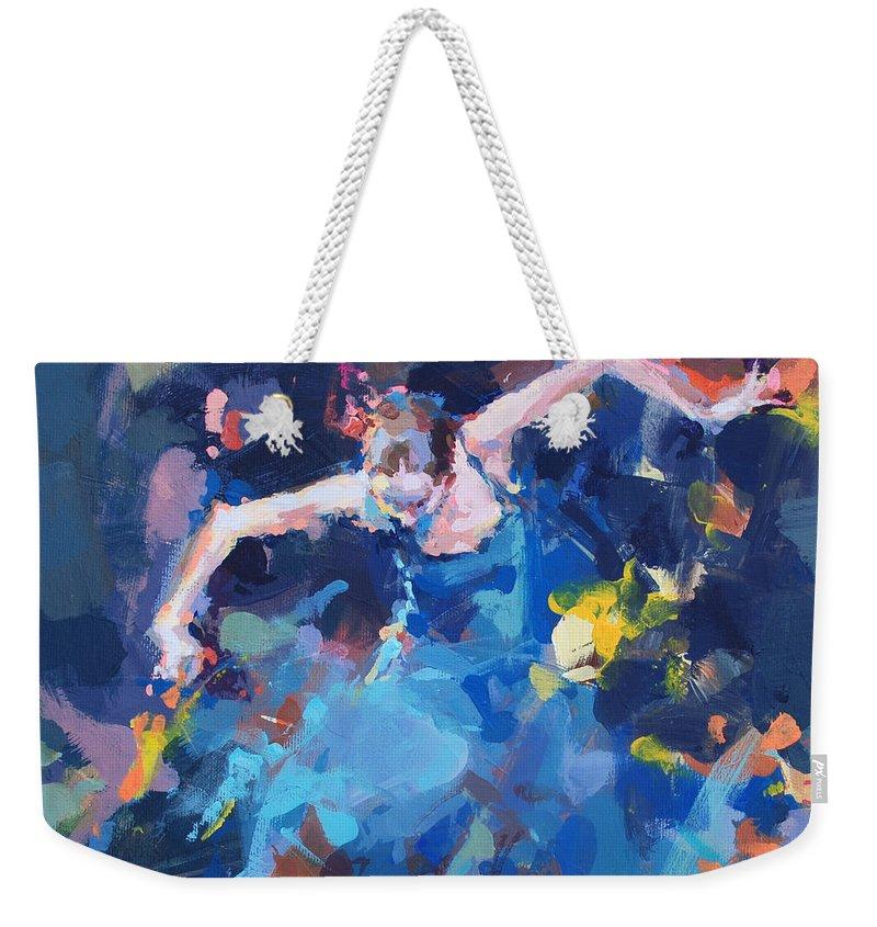 Dancers Weekender Tote Bag featuring the painting Blue Hurricane by Renata Domagalska