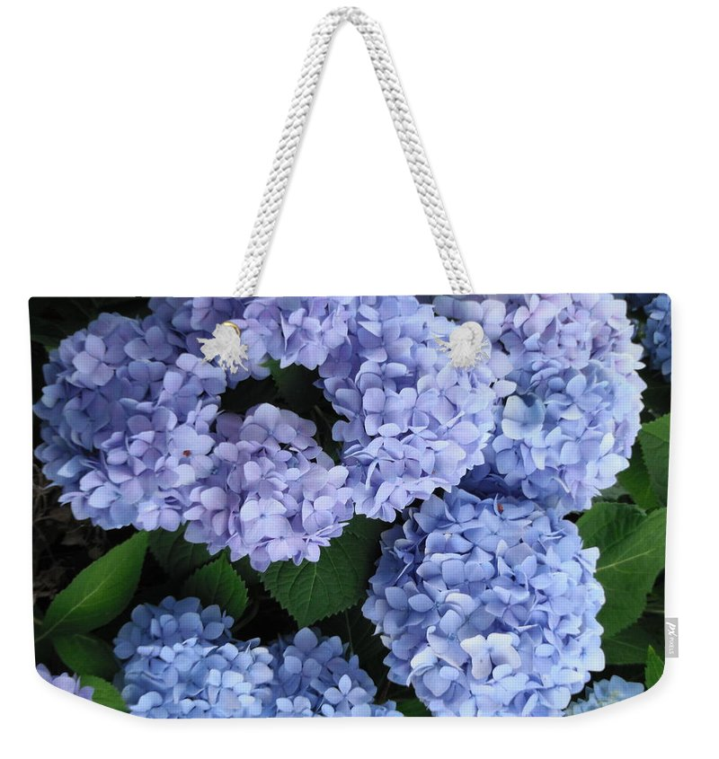 Blue Weekender Tote Bag featuring the photograph Blue Hydrangea by Caryl J Bohn