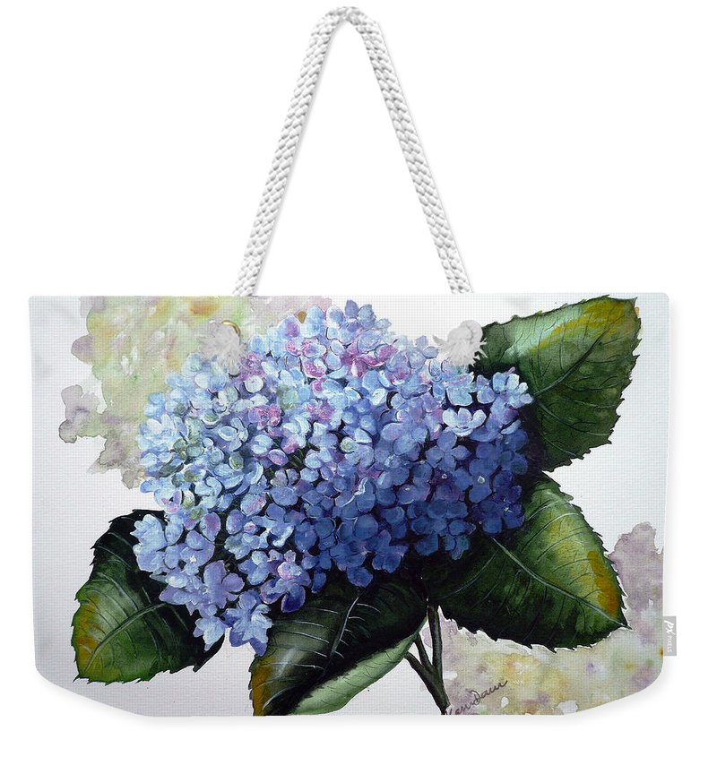 Floral Paintings  Flower Paintings Blue Paintings Botanical Paintings Blue Hydrangea Paintings Greeting Card Paintings Canvas Prints Paintings Poster Art Prints Paintings Bloom Painting Weekender Tote Bag featuring the painting Blue Hydrangea by Karin Dawn Kelshall- Best