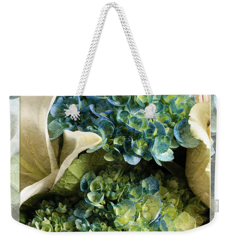 Andee Design Hydrangeas Weekender Tote Bag featuring the photograph Blue Hydrangeas Painterly by Andee Design