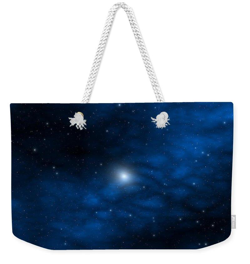 Space Weekender Tote Bag featuring the digital art Blue Interstellar Gas by Robert aka Bobby Ray Howle