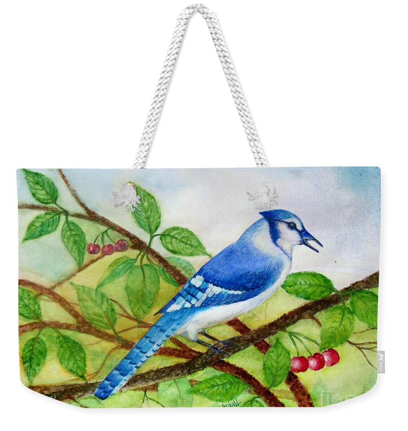 Blue Jay Watercolor Weekender Tote Bag featuring the painting Blue Jay by Anjali Vaidya