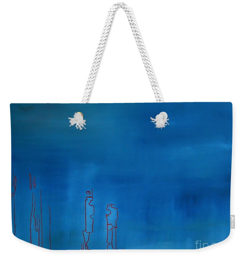 Blue Painting Weekender Tote Bag featuring the painting Blue by Jeff Barrett