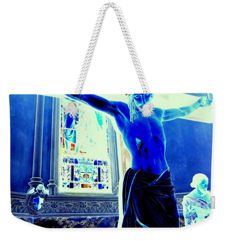 Jesus Weekender Tote Bag featuring the photograph Blue Jesus by Ed Weidman