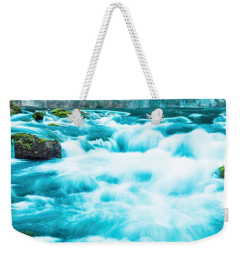 Made In America Weekender Tote Bag featuring the photograph Blue Lagoon by Steven Bateson