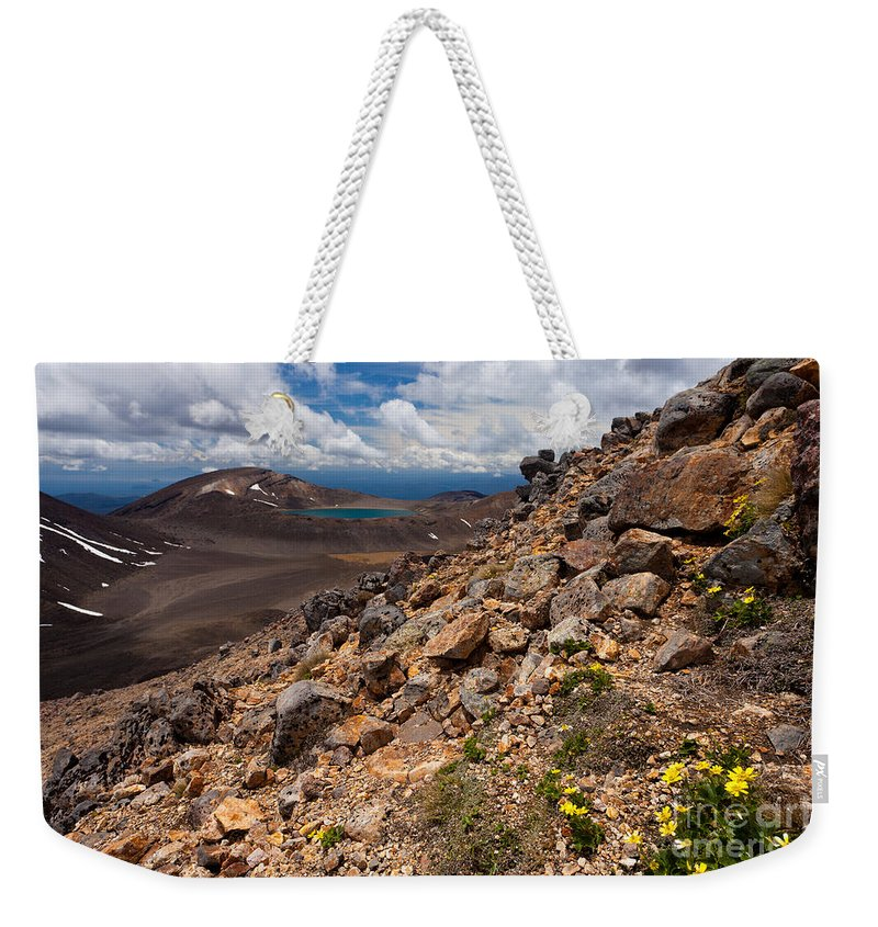 Mount Weekender Tote Bag featuring the photograph Blue Lake Of Tongariro National Park New Zealand by Stephan Pietzko