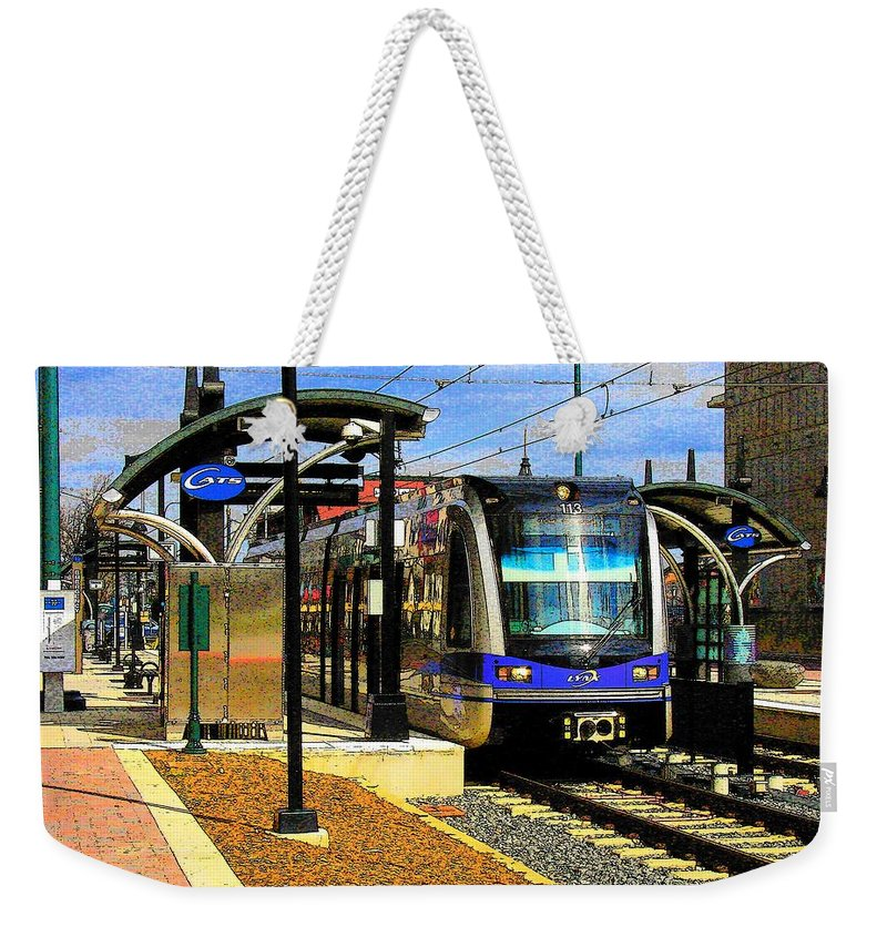 Light Rail Weekender Tote Bag featuring the photograph Blue Line by Rodney Lee Williams