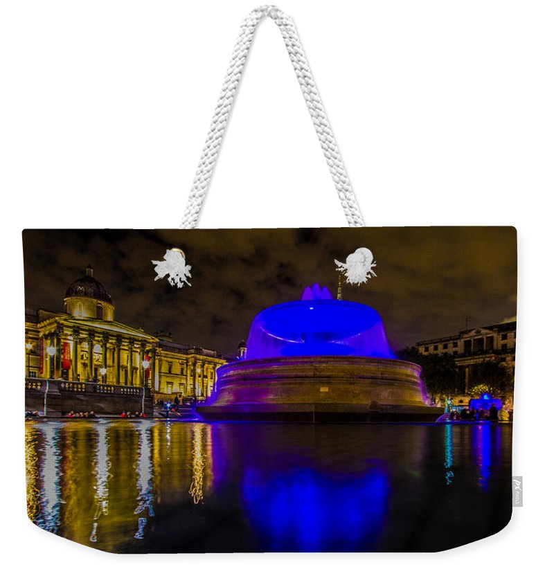London Weekender Tote Bag featuring the photograph Blue London Fountain by Dawn OConnor