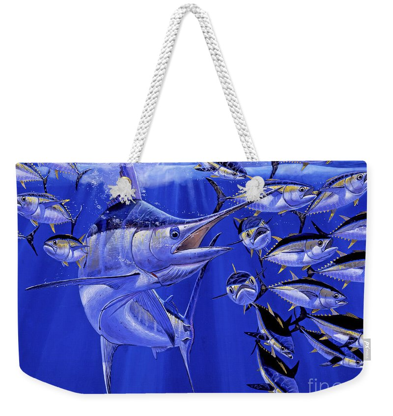 Blue Marlin Weekender Tote Bag featuring the painting Blue Marlin Round Up Off0031 by Carey Chen