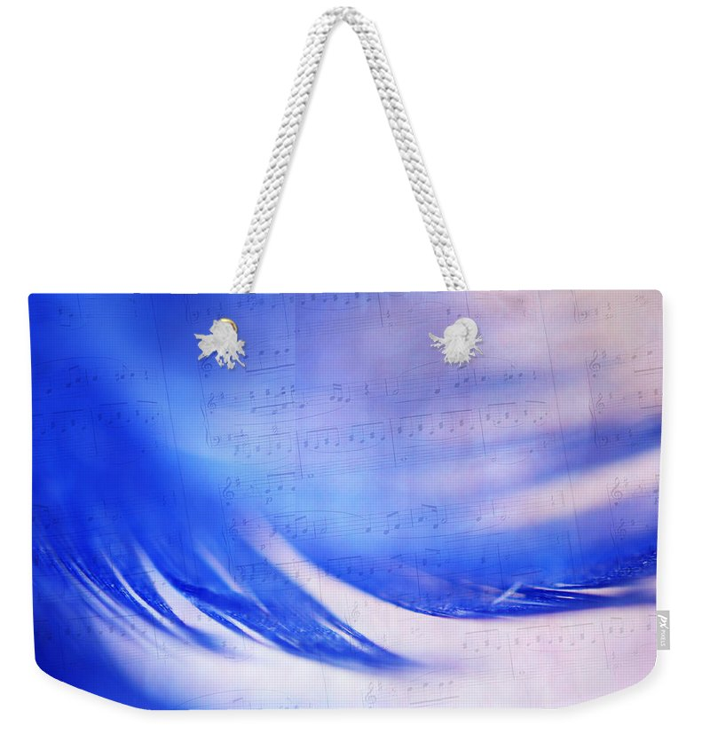 Feather Weekender Tote Bag featuring the photograph Blue Marvel. Lighten Your Day With Music by Jenny Rainbow