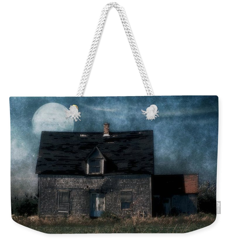 Farmhouse Weekender Tote Bag featuring the painting Blue Moon Rising by RC DeWinter