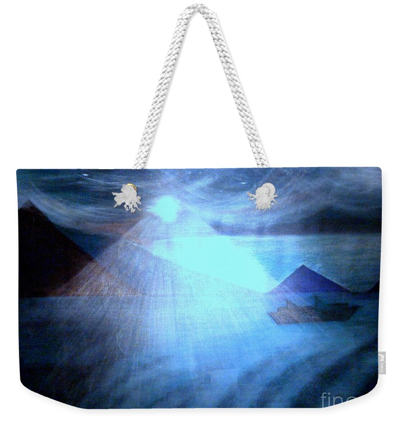 Moon Weekender Tote Bag featuring the painting Blue Moon Sailing by Kumiko Mayer