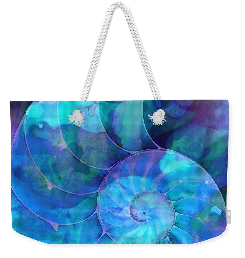 Blue Weekender Tote Bag featuring the painting Blue Nautilus Shell By Sharon Cummings by Sharon Cummings