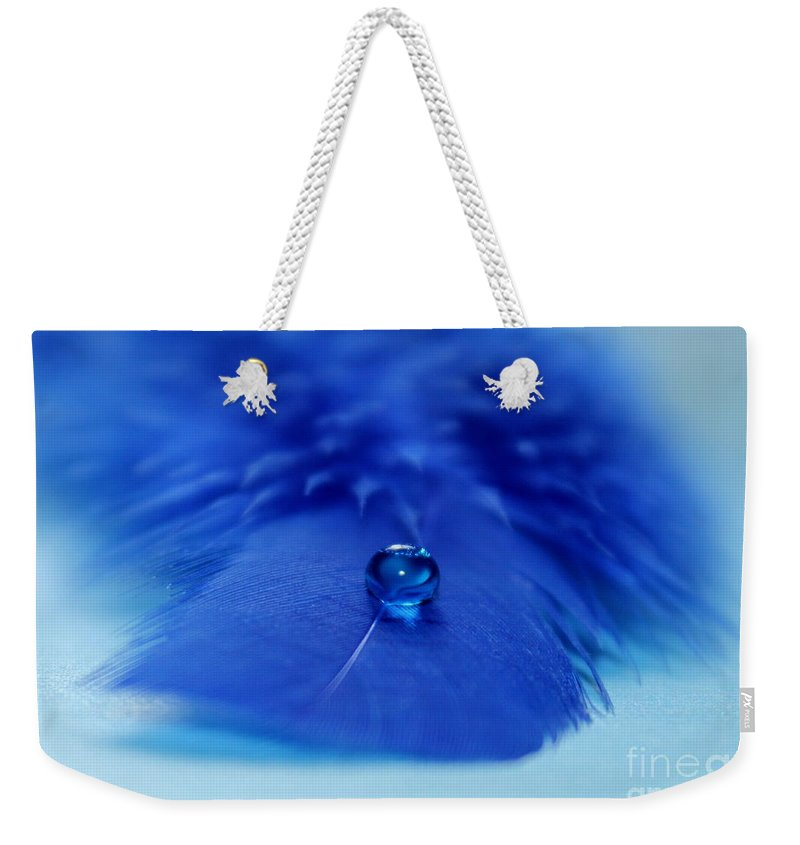 Feather Weekender Tote Bag featuring the photograph Blue On Blue by Krissy Katsimbras