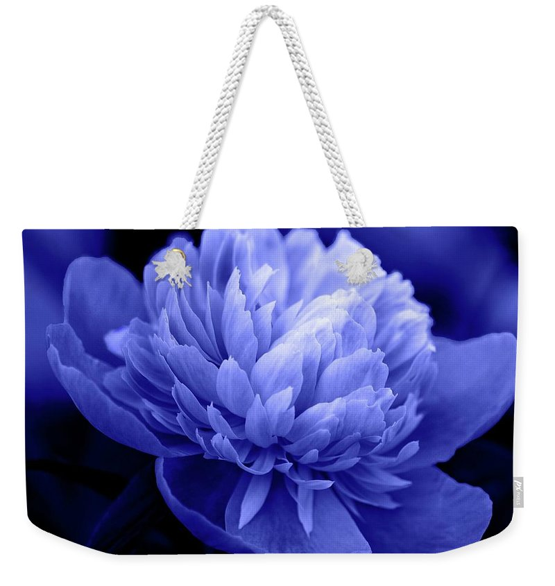 Flowers Weekender Tote Bag featuring the photograph Blue Peony by Sandy Keeton