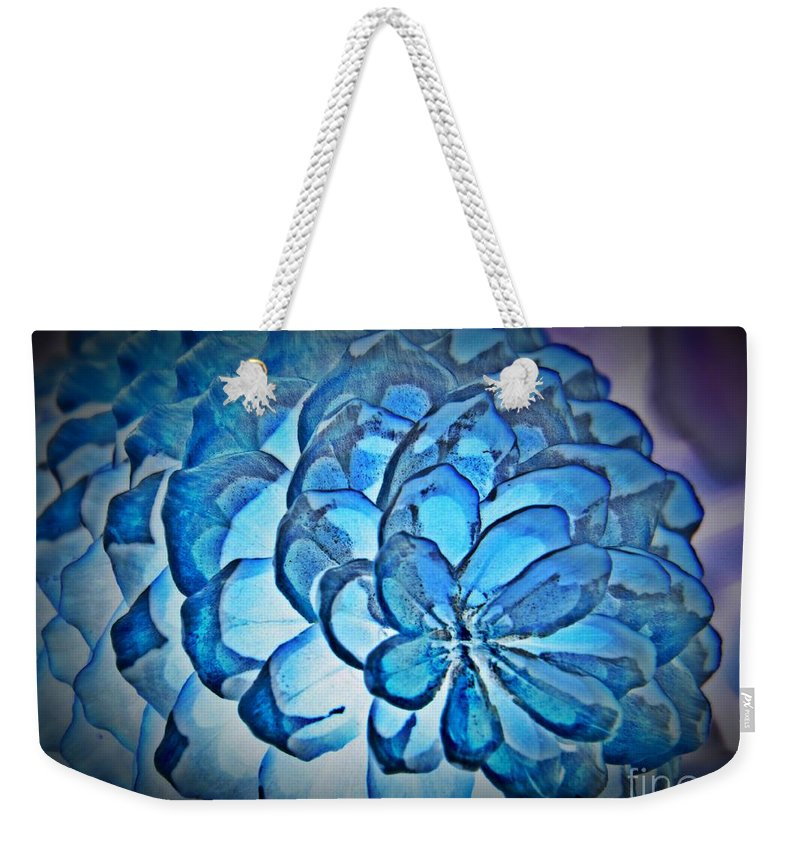 Blue Pine Cone 2 Weekender Tote Bag featuring the mixed media Blue Pine Cone 2 by Chalet Roome-Rigdon