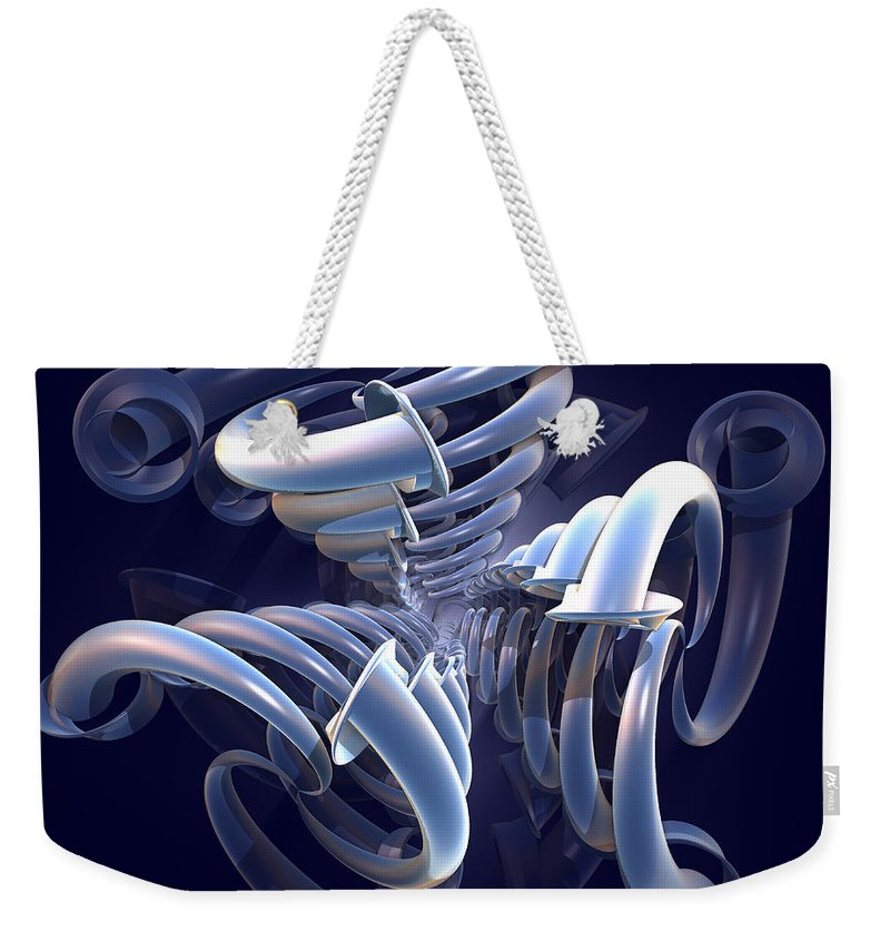 Incendia Weekender Tote Bag featuring the digital art Blue Pipes by Deborah Benoit
