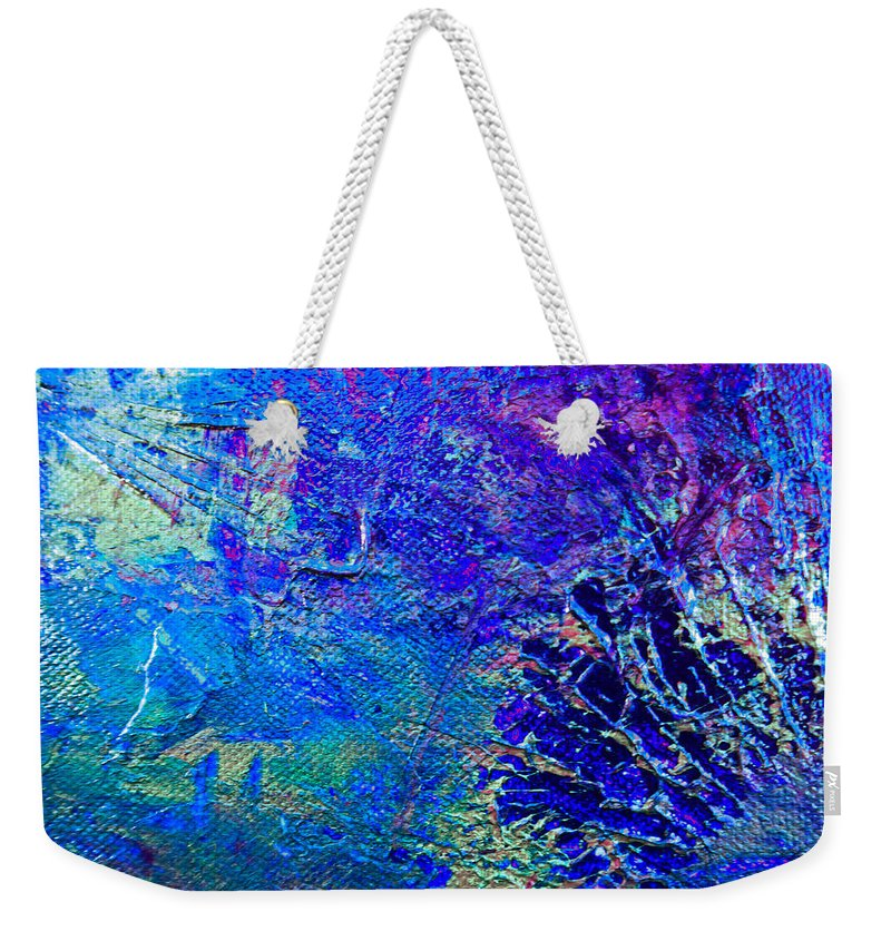 Amber Weekender Tote Bag featuring the painting Blue Planet by Kusum Vij