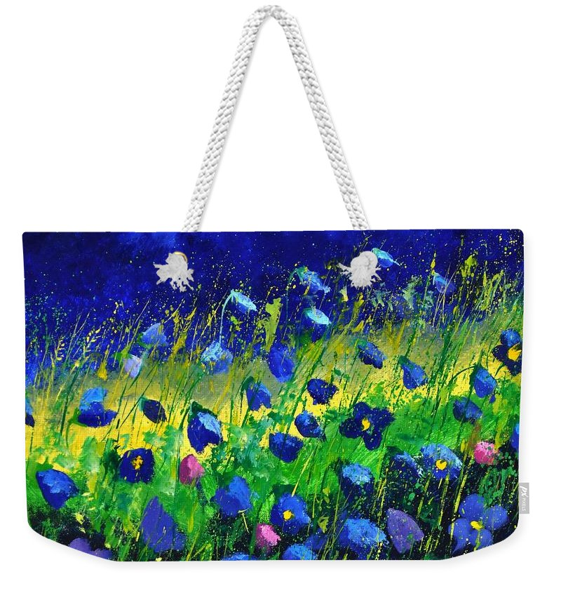 Landscape Weekender Tote Bag featuring the painting Blue poppies 674190 by Pol Ledent