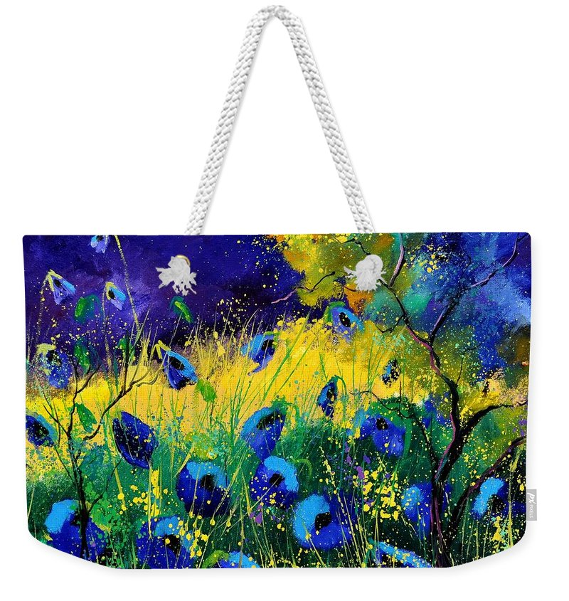 Landscape Weekender Tote Bag featuring the painting Blue poppies 7741 by Pol Ledent