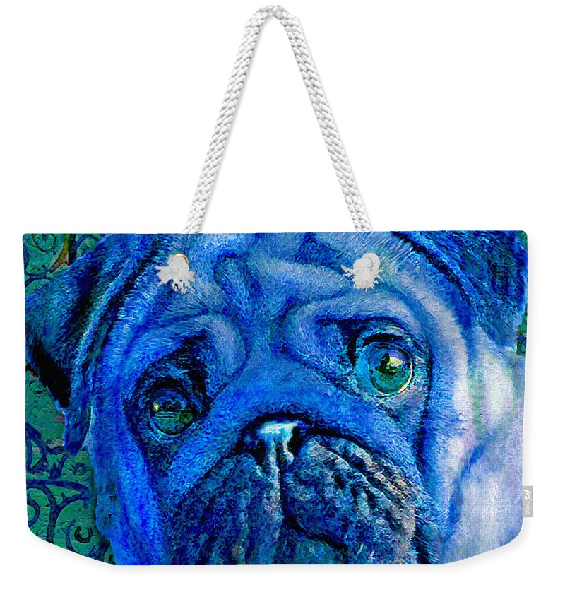 Pug Weekender Tote Bag featuring the digital art Blue Pug by Jane Schnetlage