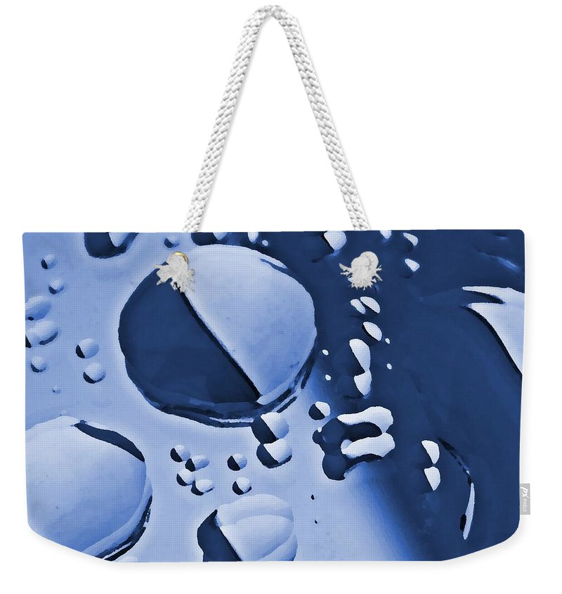Abstract Weekender Tote Bag featuring the photograph Blue Rain by Chris Berry