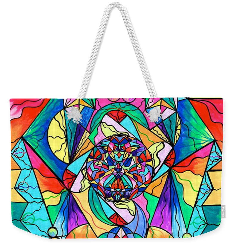 Vibration Weekender Tote Bag featuring the painting Blue Ray Transcendence Grid by Teal Eye Print Store