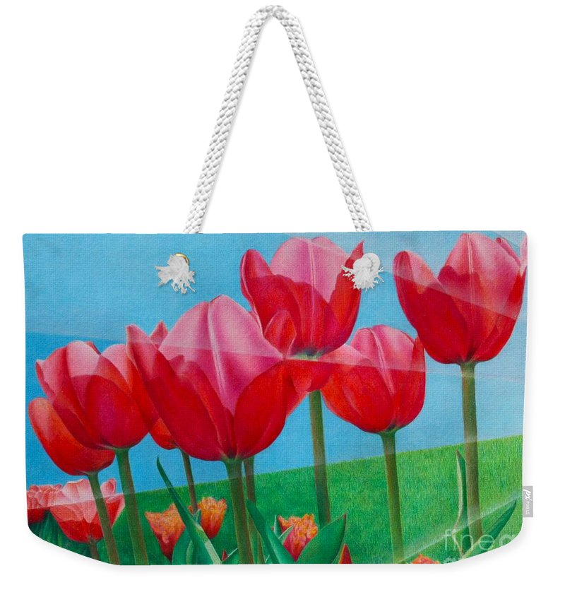 Tulips Weekender Tote Bag featuring the painting Blue Ray Tulips by Pamela Clements