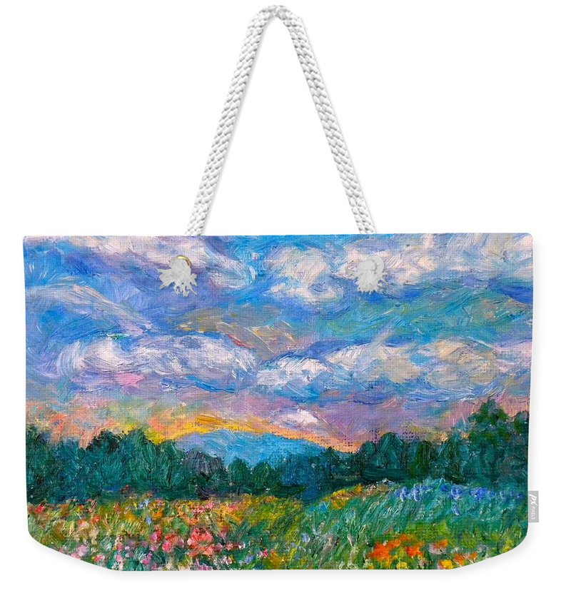 Landscape Weekender Tote Bag featuring the painting Blue Ridge Wildflowers by Kendall Kessler