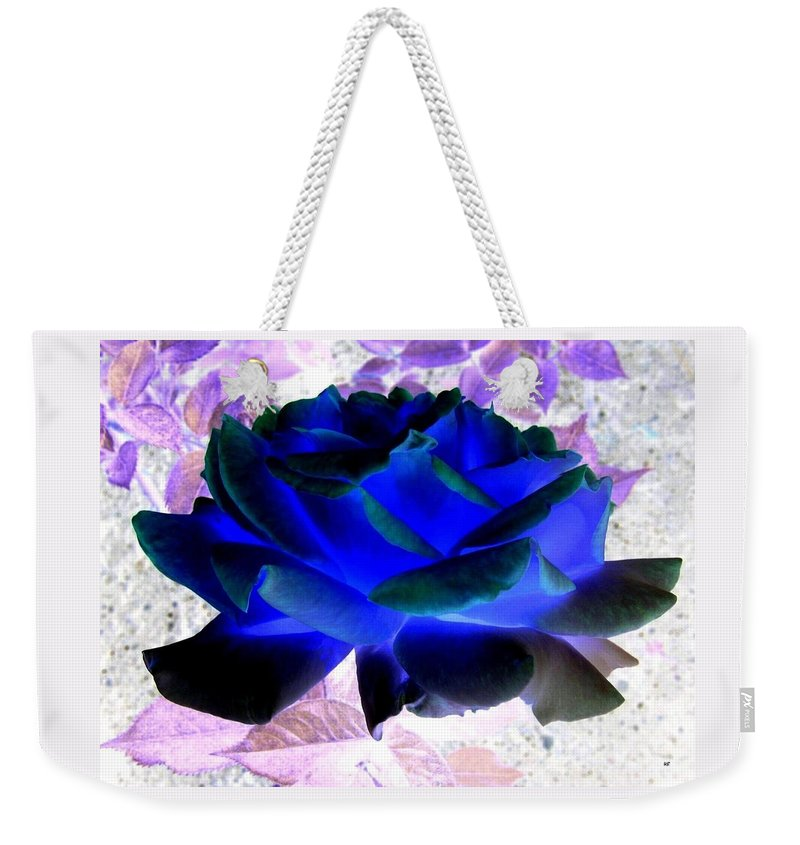 Blue Rose Weekender Tote Bag featuring the digital art Blue Rose by Will Borden