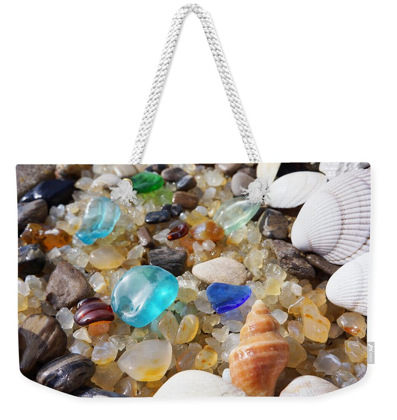 Decorative Weekender Tote Bag featuring the photograph Blue Seaglass Art Prints Shells Agates Rocks by Patti Baslee