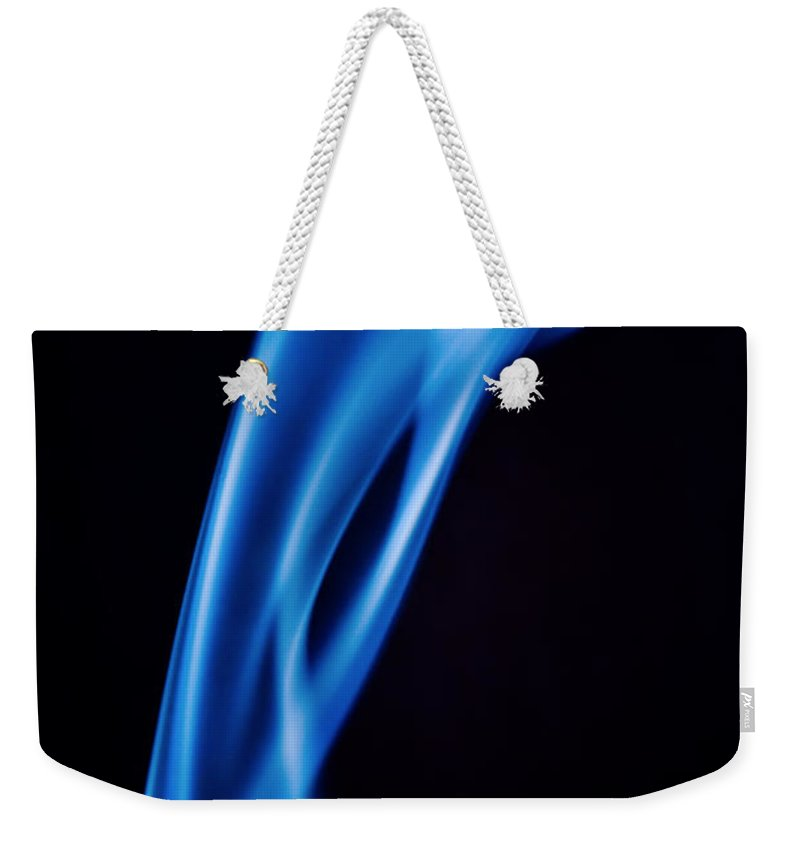 Smoke Abstract Weekender Tote Bag featuring the photograph Blue Smoke Abstract by Michalakis Ppalis