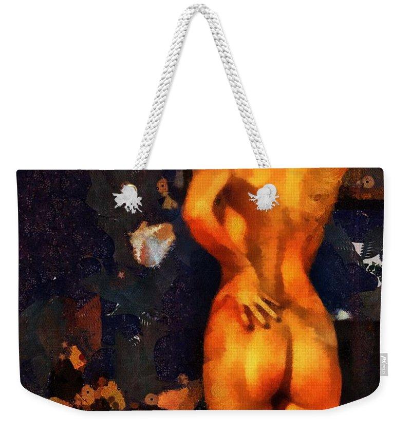 Nudes Weekender Tote Bag featuring the painting Blue Studio 1 by Janice MacLellan