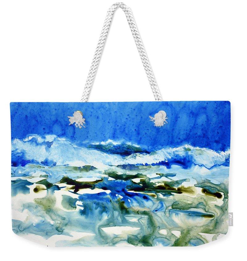 Ocean Weekender Tote Bag featuring the painting Blue Surf by Joan Hartenstein