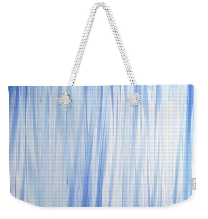 Abstract Weekender Tote Bag featuring the digital art Blue Swoops Vertical Abstract by Andee Design