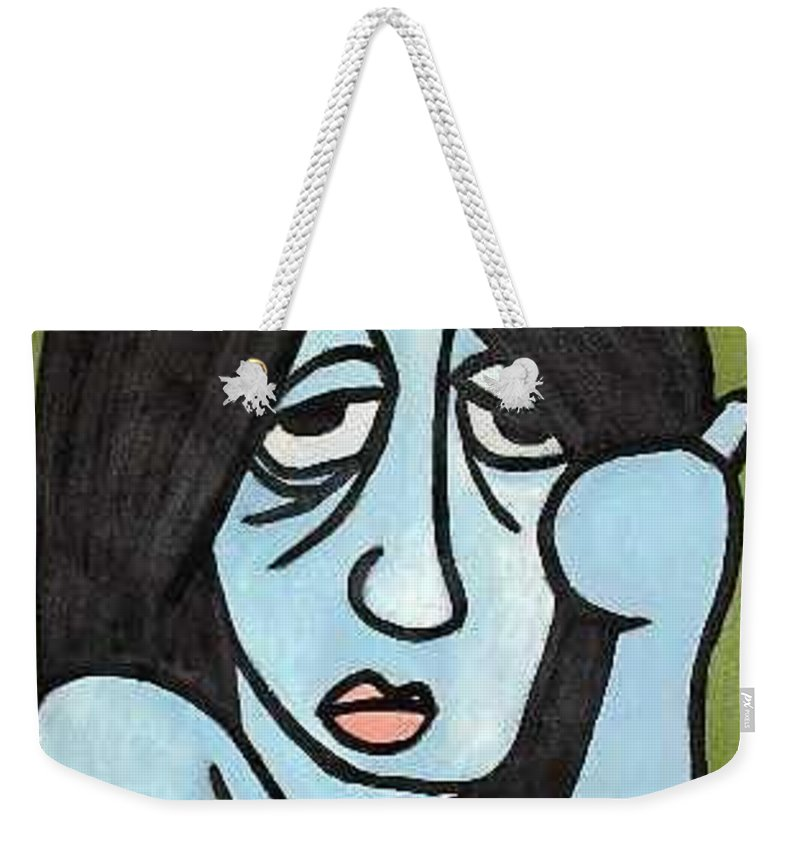 Portrait Weekender Tote Bag featuring the painting Blue by Thomas Valentine