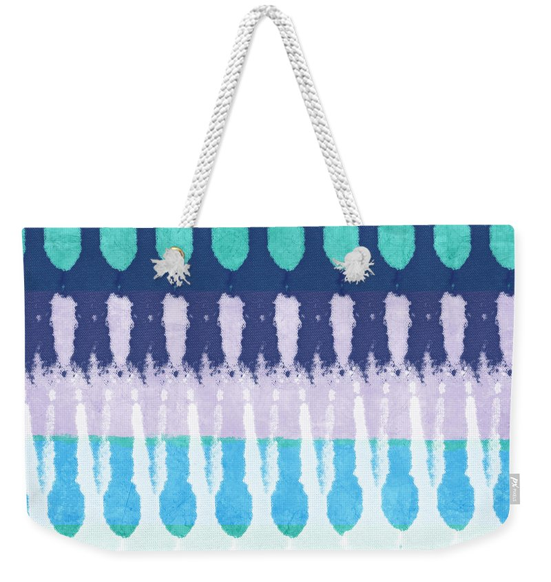 Blue Weekender Tote Bag featuring the painting Blue Tie Dye by Linda Woods