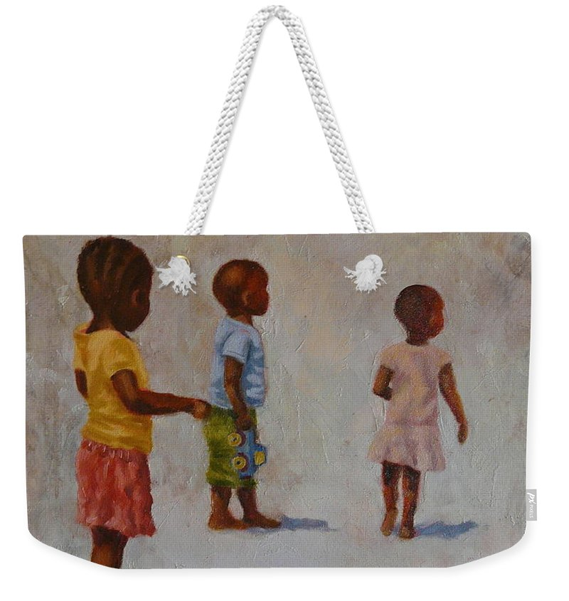 Children Weekender Tote Bag featuring the painting Blue Truck by Yvonne Ankerman