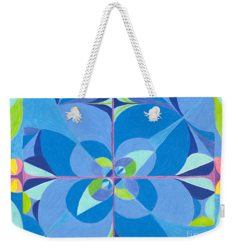 Color Weekender Tote Bag featuring the drawing Blue Unity by Kim Sy Ok