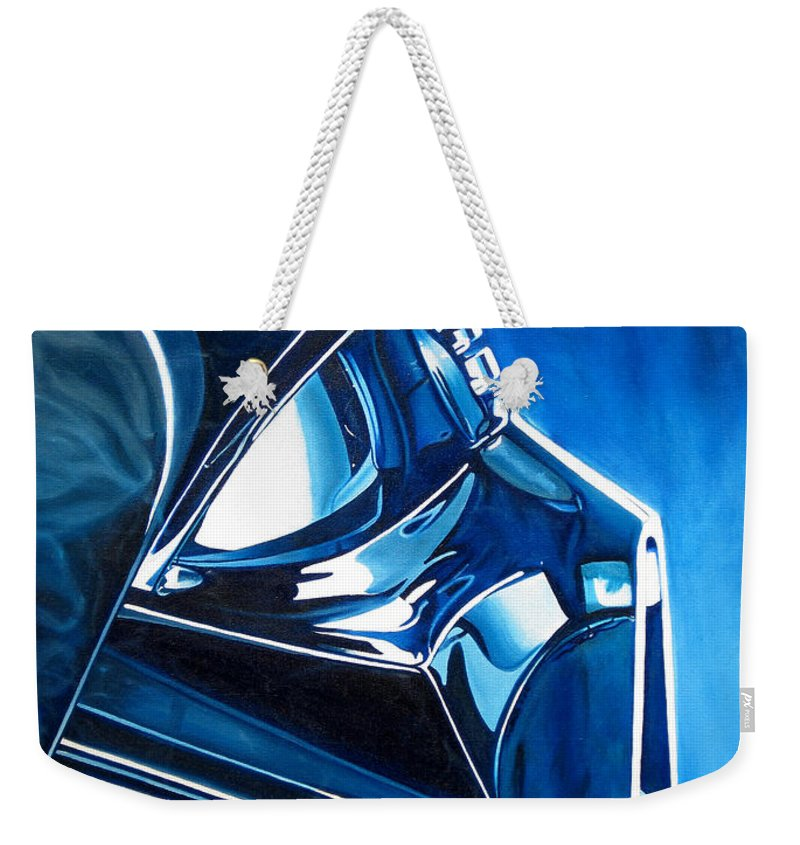 Star Wars Weekender Tote Bag featuring the painting Blue Vader by Joshua Morton