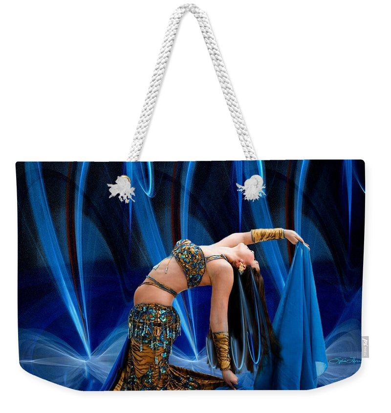 Fractal Weekender Tote Bag featuring the photograph Blue Veils by Sylvia Thornton