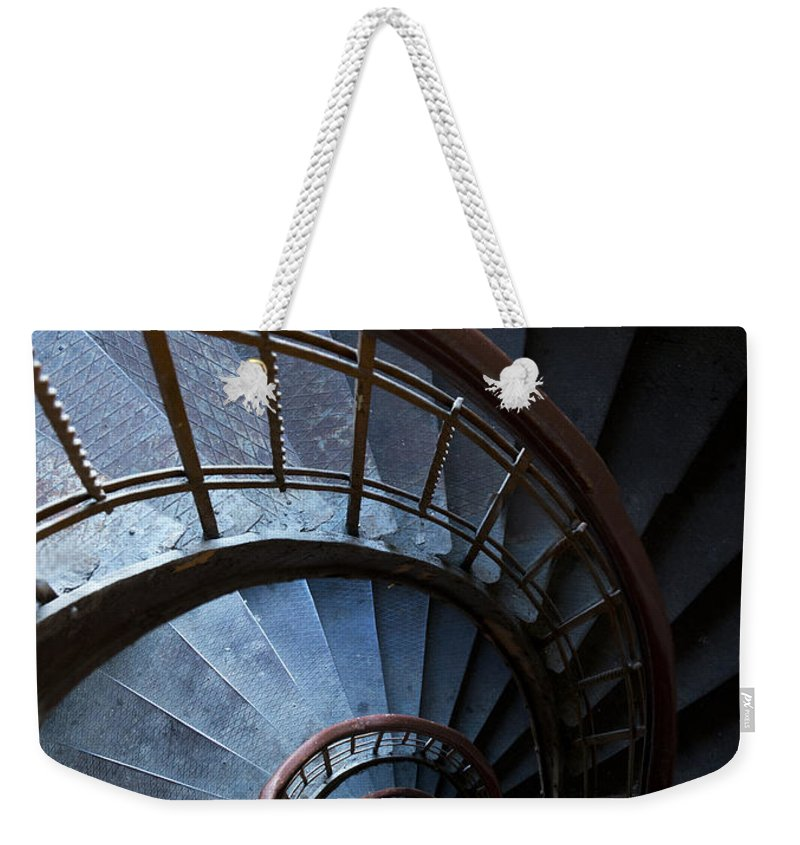 Blue Weekender Tote Bag featuring the photograph Blue Vintage Staircase by Jaroslaw Blaminsky