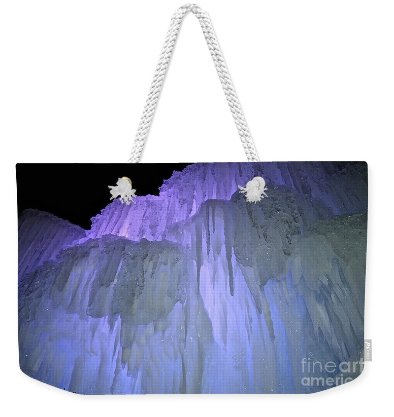 Ice Weekender Tote Bag featuring the photograph Blue Violet Ice Mountain by Susan Herber