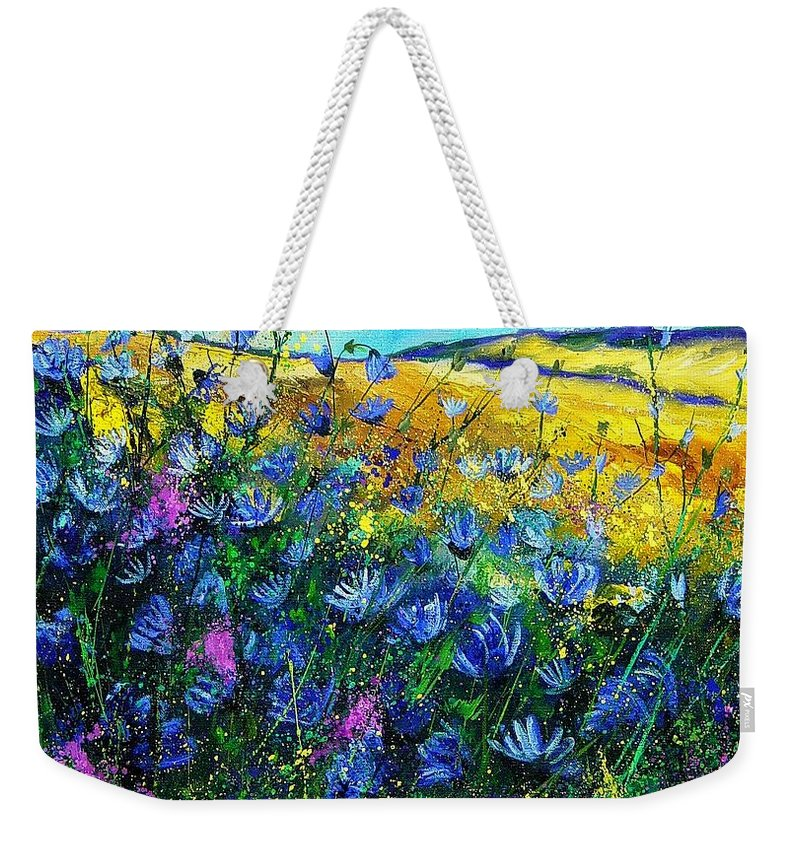 Flowers Weekender Tote Bag featuring the painting Blue Wild Chicorees by Pol Ledent
