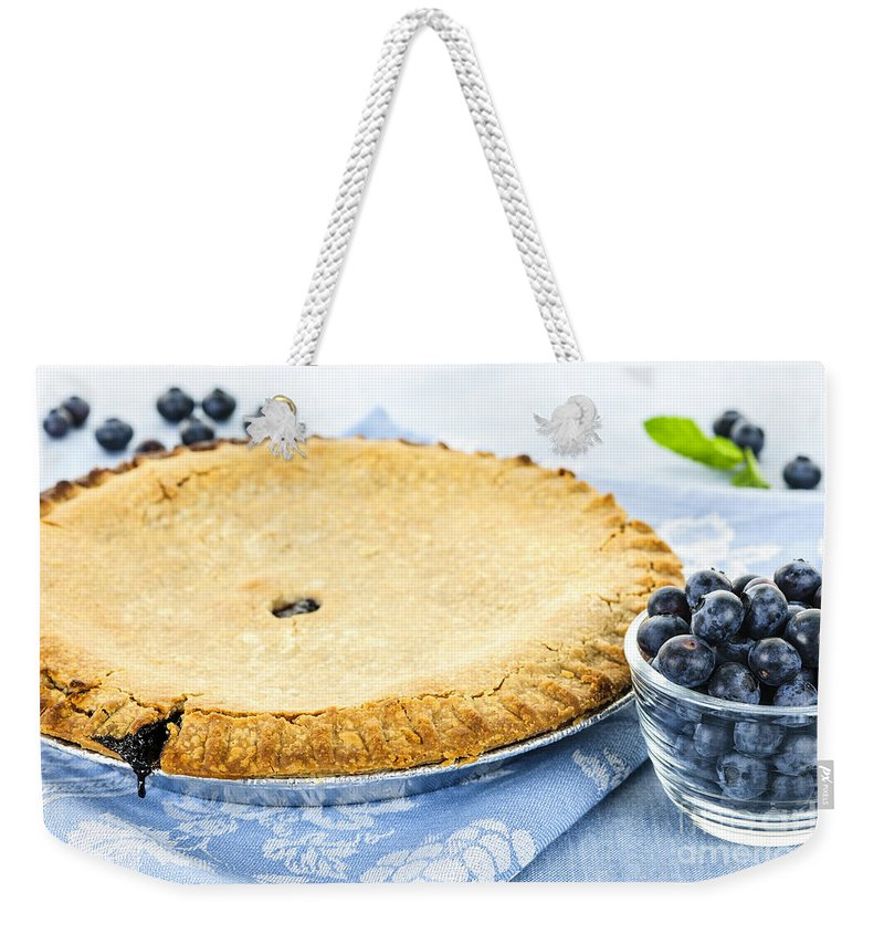 Blueberry Weekender Tote Bag featuring the photograph Blueberry Pie by Elena Elisseeva