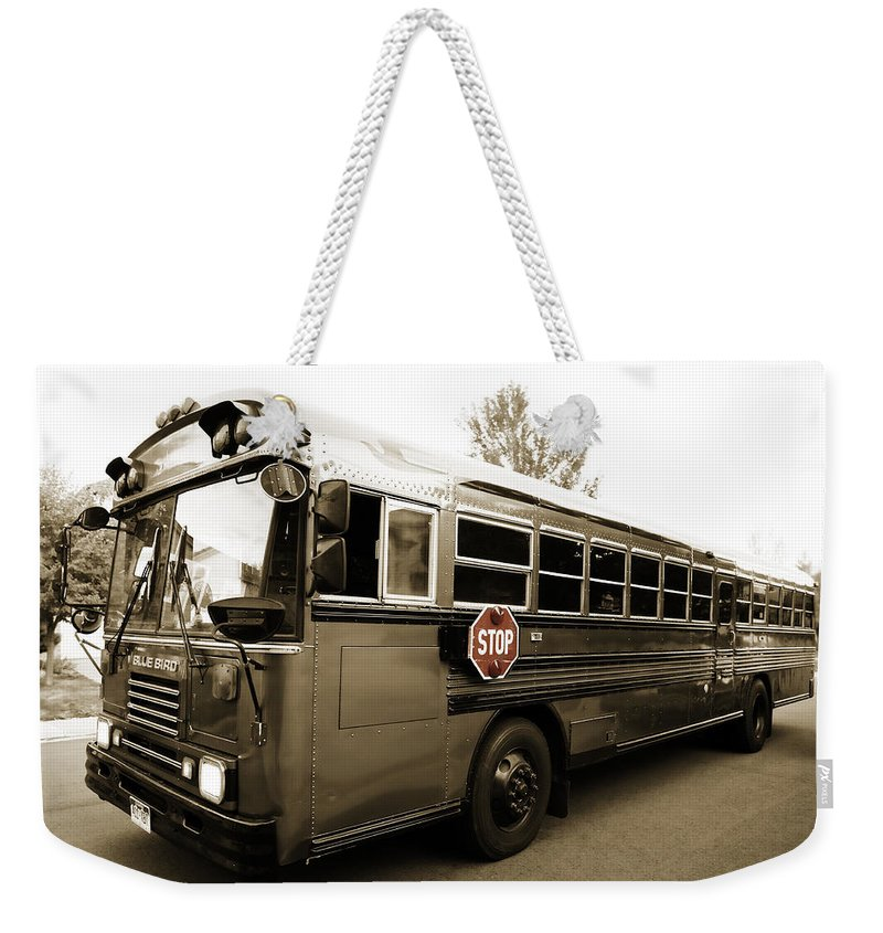 Bluebird Weekender Tote Bag featuring the photograph Bluebird Bus Limo 3 by Marilyn Hunt