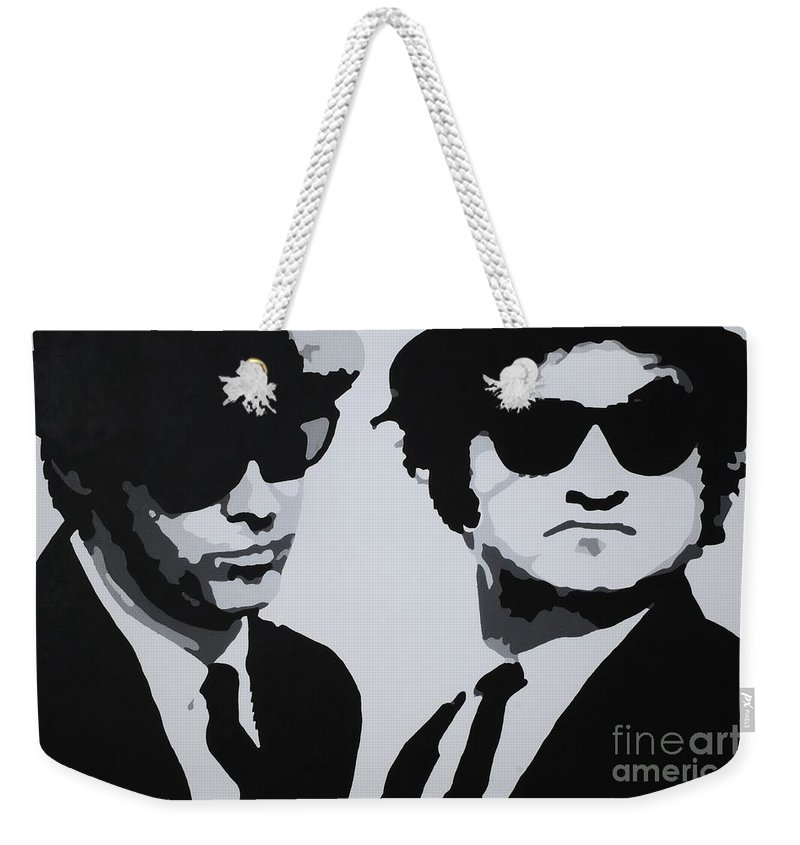 Blues Brothers Weekender Tote Bag featuring the painting Blues Brothers by Katharina Filus