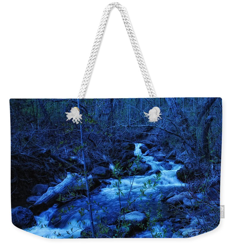 Blue Weekender Tote Bag featuring the photograph Blues Traveler by Donna Blackhall
