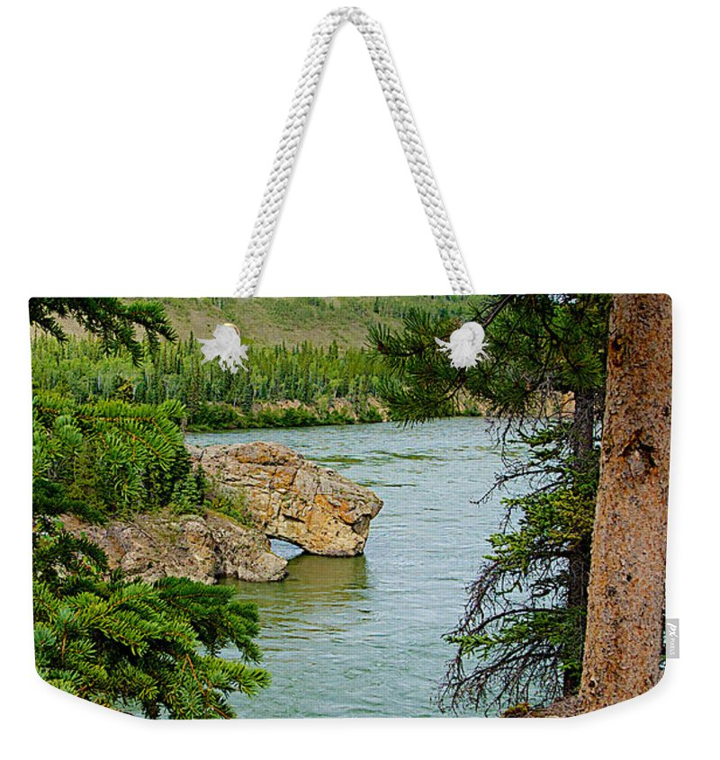 Bluff Over The River In Five Finger Rapids Recreation Site Along Klondike Highway Weekender Tote Bag featuring the photograph Bluff Over The River In Five Finger Rapids Recreation Site Along Klondike Hwy-yt by Ruth Hager